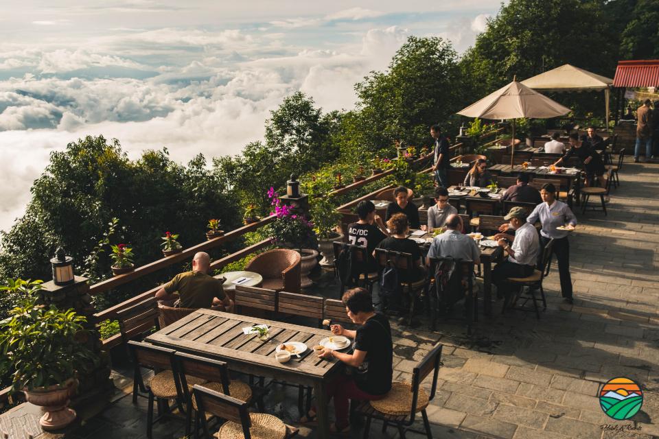 Guests enjoying breakfast on the terrace